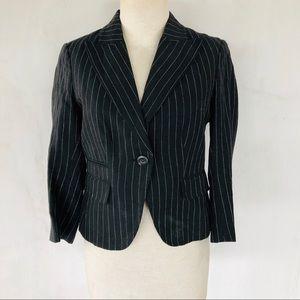 RALPH LAUREN • black & white stripe linen blazer
